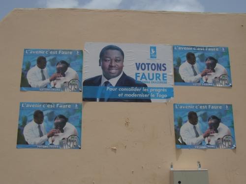 Affiches électorales en faveur du candidat Faure, Lomé, avril 2015